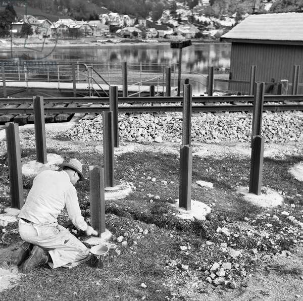 Switzerland World War II Iron Lock (b/w photo)