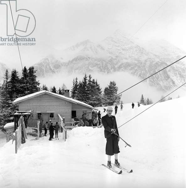 Switzerland Ski Lift, 1943 (b/w photo)