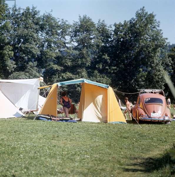 Switzerland Camping, 1959 (b/w photo)