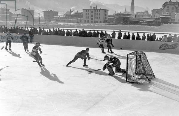 Spengler Cup, 1950 Hc Diavoli Rossoneri Milano Hc Lausanne (b/w photo)