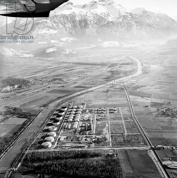 Switzerland Refinery Collombey, 1966 (b/w photo)