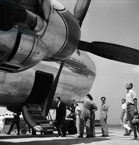 Switzerland Aviation Stratocruiser, 1949 (b/w photo)