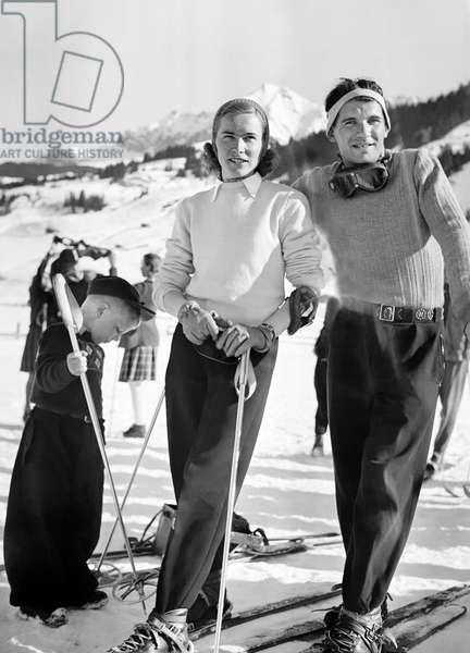 Switzerland Alpine Skiing Hirschy-Bleuer (b/w photo)
