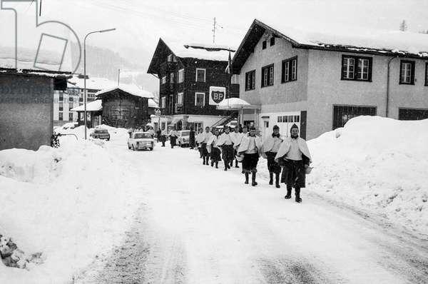 Switzerland Reckingen Avalanche, 1970 (b/w photo)