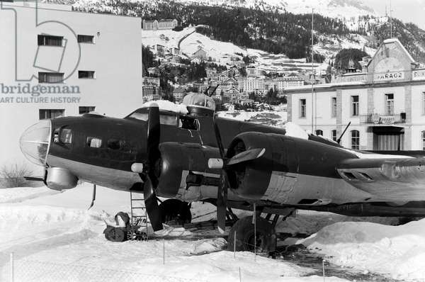 Switzerland St. Moritz Flying Fortress, 1970 (b/w photo)