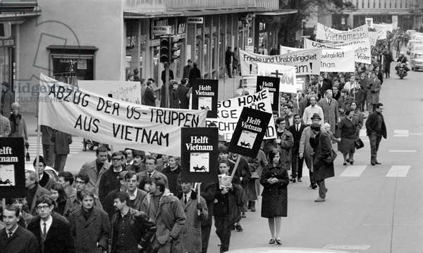 On January 4, 1967, a majority of young people demonstrated against the Vietnam War in Zurich, Switzerland, (b/w photo)
