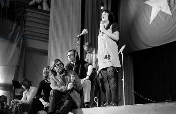 A speaker at a demonstration against the Vietnam War on April 22, 1972 in Zurich, Switzerland, (b/w photo)