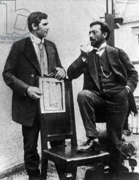 Franz Marc and Vassily Kandinsky (b/w photo)