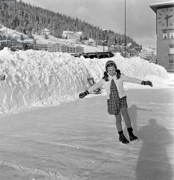 Switzerland Davos Ice Skating, 1944 (b/w photo)