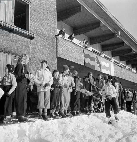Switzerland Davos Youth Camp, 1944 (b/w photo)