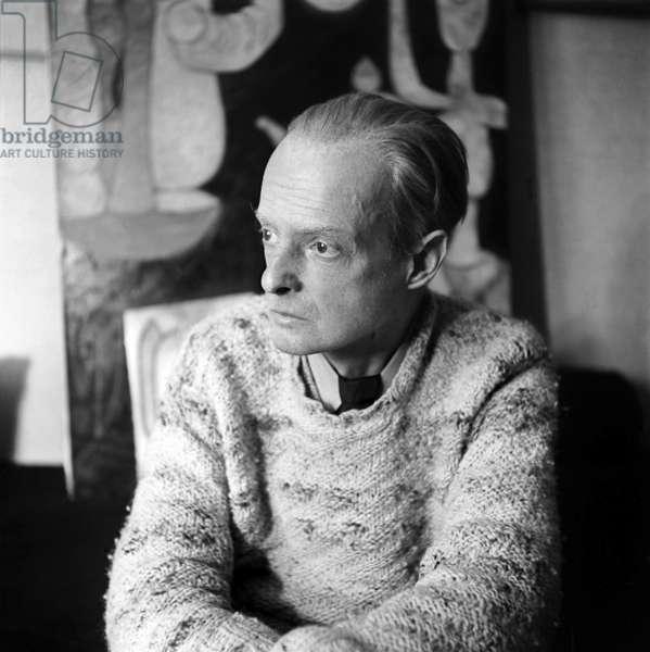 Paul Klee (1879-1940) swiss painter here in december 1939 in Bern (b/w photo)