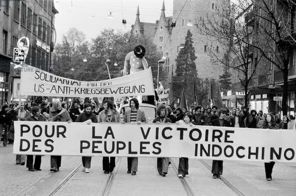 Demonstration against the Vietnam War on April 22, 1972 in Zurich, Switzerland, (b/w photo)