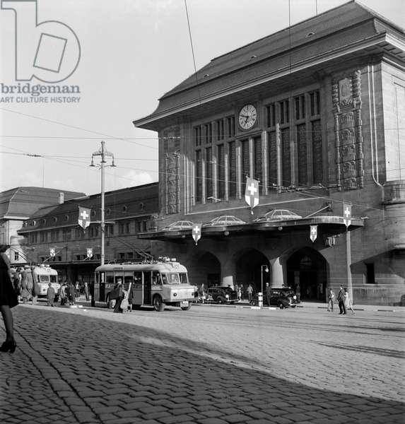 Switzerland Lausanne Station, 1944 (b/w photo)