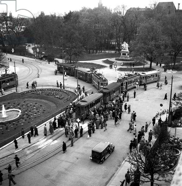 Switzerland Basel Traffic, 1942 (b/w photo)