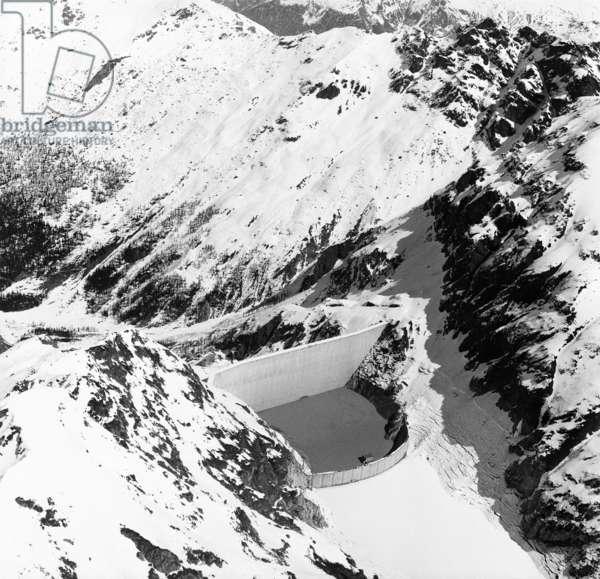 Switzerland Grande Dixence, 1969 (b/w photo)