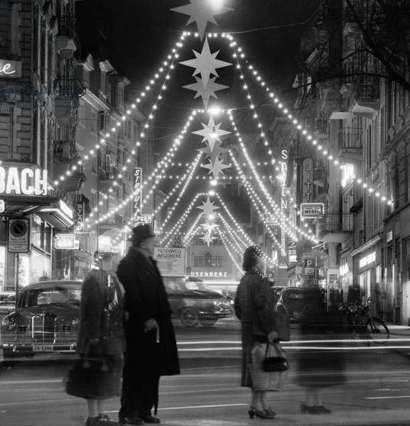 Switzerland Christmas, 1958 (b/w photo)