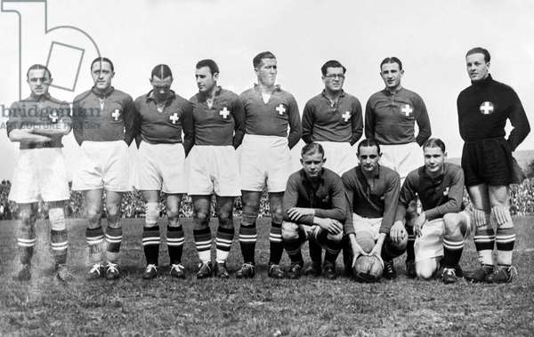 The players of the Swiss national football team before the match between Switzerland, and Ireland, recorded on 5 May 1935 in Basel, (b/w photo)