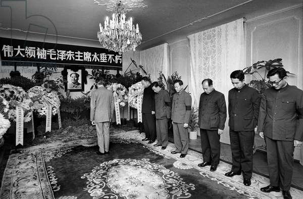 Switzerland Mourning Ceremony Mao Zedong, 1976 (b/w photo)
