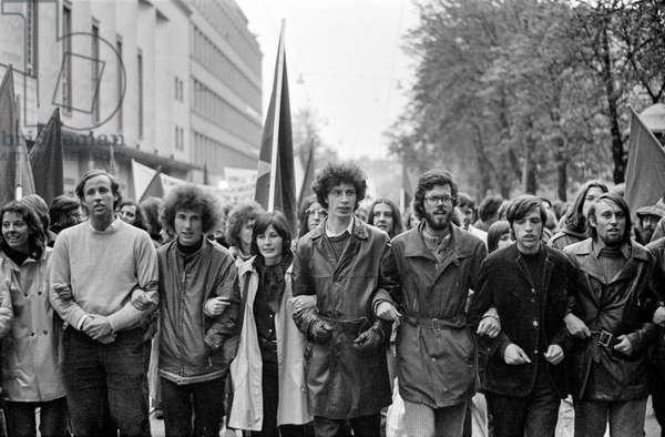 The demonstration against the Vietnam War on April 22, 1972 in Zurich, Switzerland, (b/w photo)