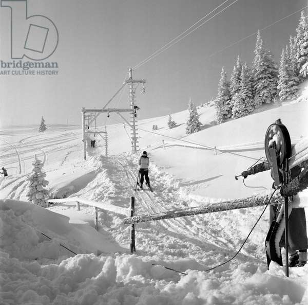 Switzerland Ski Lift, 1941 (b/w photo)