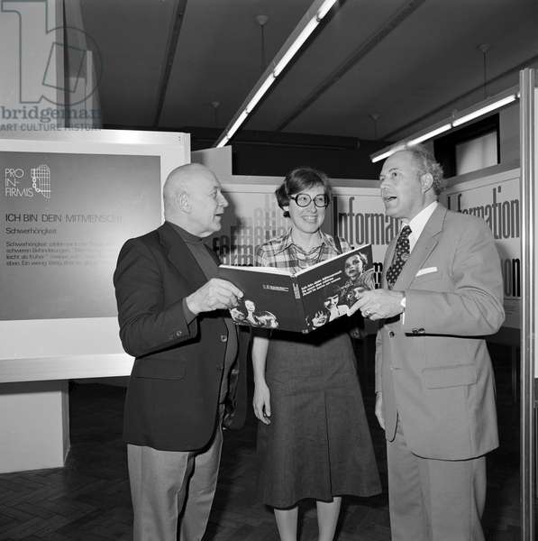 Switzerland Pro Infirmis Book Opening, 1977 (b/w photo)