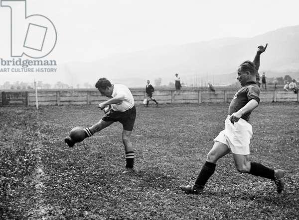 Switzerland Soccer Solothurn Locarno, 1945 (b/w photo)