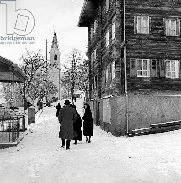 Switzerland Unterbäch, 1957 (b/w photo)