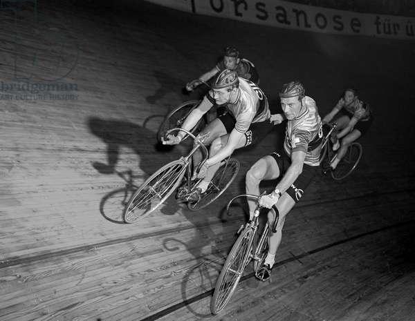 Switzerland Six Days Race Zurich, 1954 Coblet Of Bueren (b/w photo)