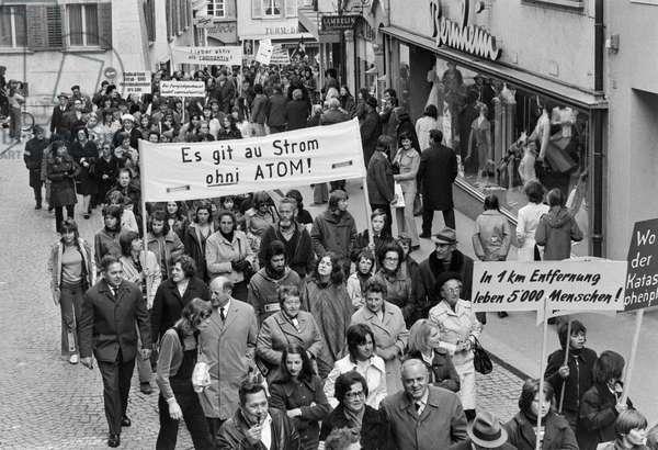 Switzerland Akw Demonstration, 1973 (b/w photo)