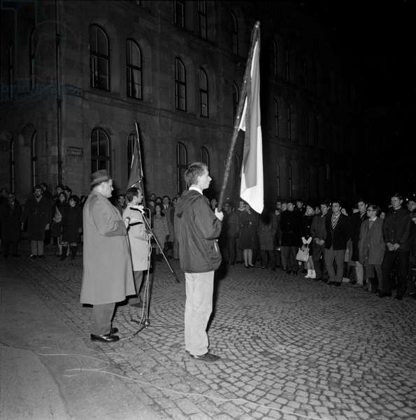 A demonstration of solidarity with the Czech people took place on 27 January 1969 on Zwingliplatz near Grossmuenster in Zurich (b/w photo)