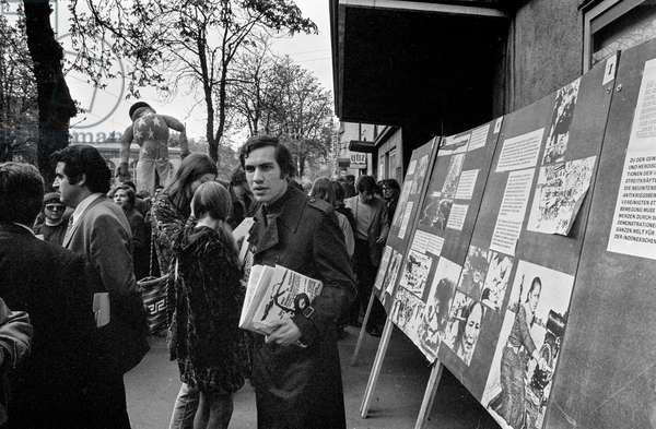 Information boards at the demonstration against the Vietnam War on April 22, 1972 in Zurich, Switzerland, (b/w photo)
