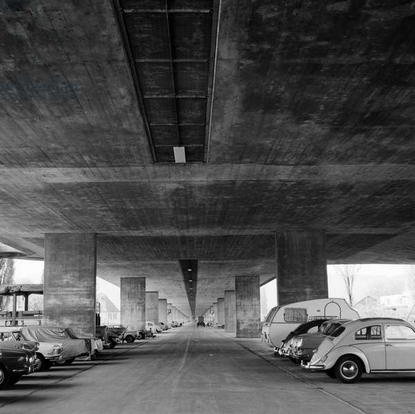Switzerland Zurich Europabrücke, 1967 (b/w photo)