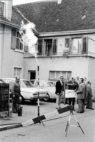 Switzerland Reinach Gas Flaring, 1971 (b/w photo)