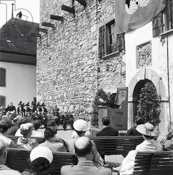 Switzerland Fifa 50Th Birthday Castle Spiez (b/w photo)