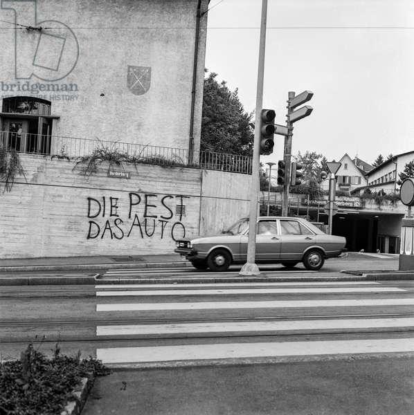 Switzerland Zurich The Car The Pest, 1975 (b/w photo)