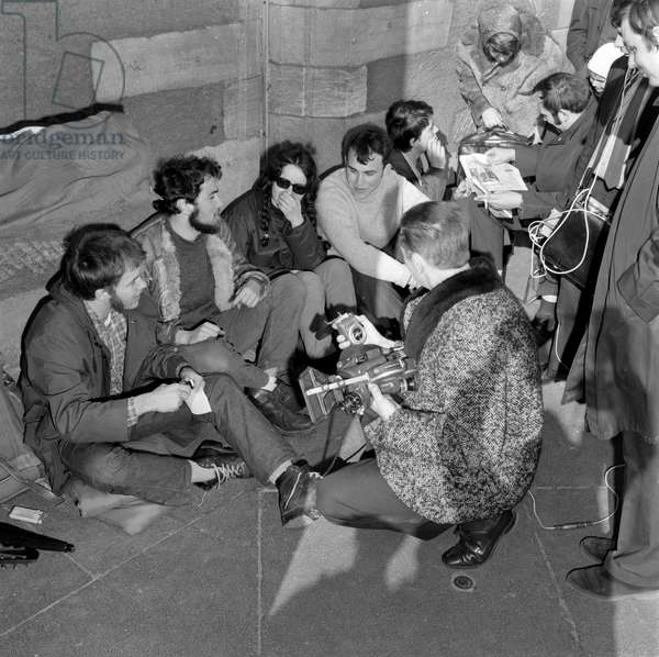 A group of Czechoslovak students started a three-day hunger strike on 31 January 1969 under the Zwingli monument in Zurich, Switzerland, in solidarity with the rebellious Prague students and in memory of Jan Palach (b/w photo)