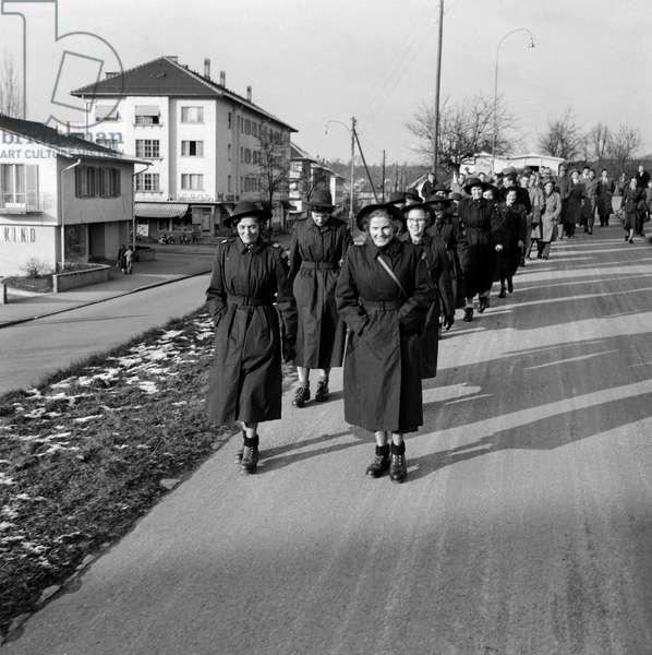 Swiss Red Cross Medical Train Hungary, 1956 (b/w photo)