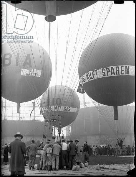 Switzerland Balloon Ride, 1937 (b/w photo)