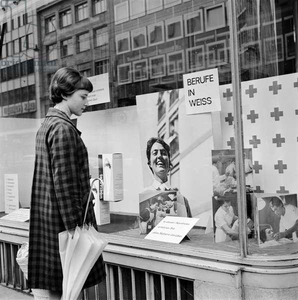 Switzerland Swiss Red Cross Window Advertising, 1965 (b/w photo)