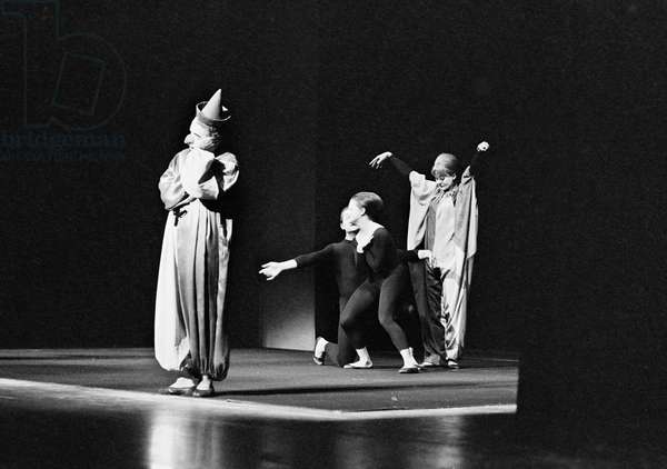 Mime Theater on Railing, 1968 (b/w photo)
