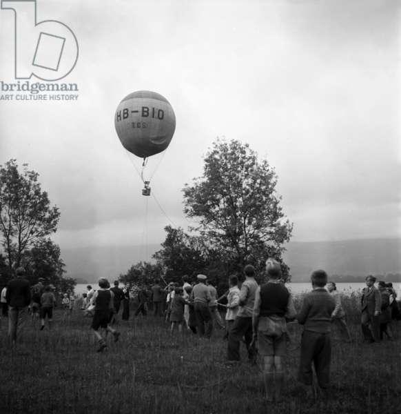 Switzerland Balloon Ride, 1938 (b/w photo)