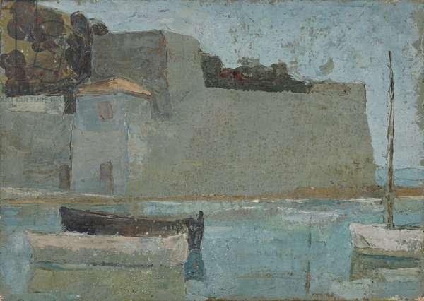 Grey fortification in Mediterranean harbour, 1928 (circa) (painting)