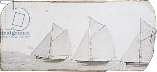 Three sailing boats in a line, n.d. (painting)