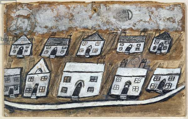 White Houses (oil and pencil on thin buff card)