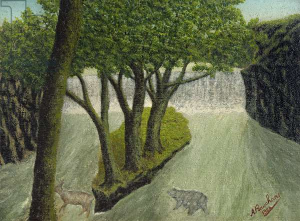 Animals Crossing a Flooded River with Distant Waterfall, 1924 (painting)