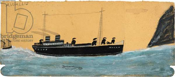 Motor vessel with airship and shark, n.d. (painting)
