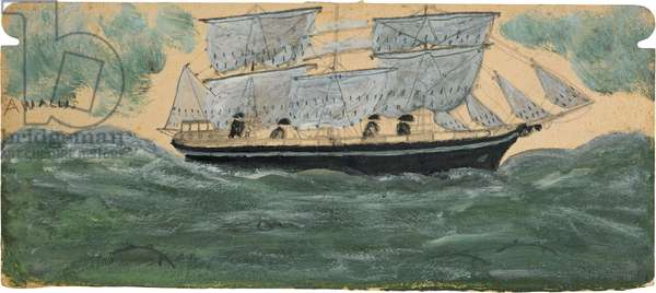 Three-master with four sailors, and four dolphins in green sea, n.d. (painting)