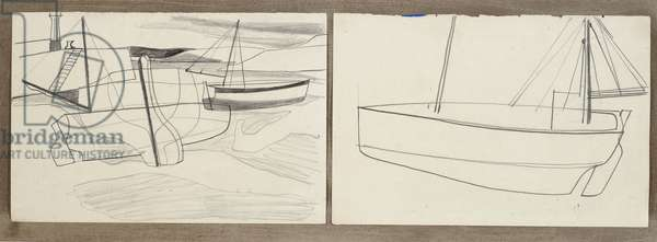 circa 1945 (boats in St. Ives harbour), 1945 (circa) (drawing)