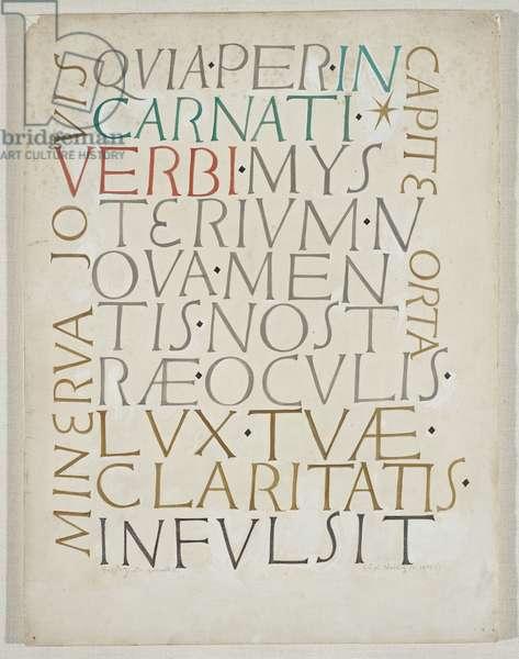 Quia per Incarnati, c.1953 (w/c & graphite on paper)