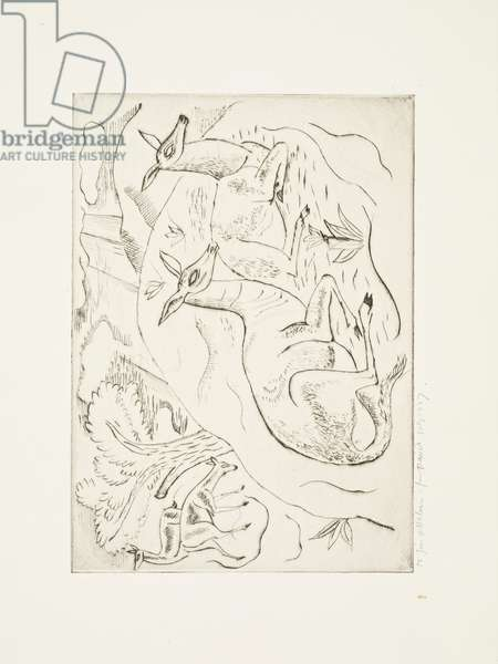 Resting Animals (four deer), 1927 (print)
